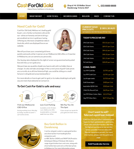 Cash For Old Gold Melbourne Website Development